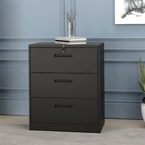 28 40 Lateral Filing Cabinet Storage Organizer 2 3 Drawer W lock Home Office