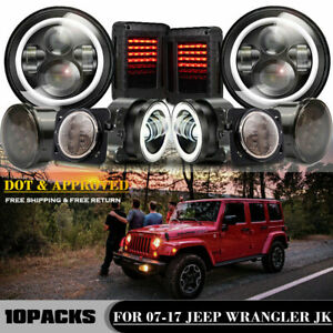 For Jeep Wrangler Jk Dot Led Headlight Turn Fender Smoke Tail Light Combo Kit