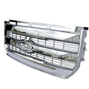 For 2015 2017 Ford F150 Chrome King Ranch Style Front Bumper Abs Plastic Grille