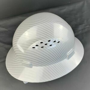 Hdpe Hydro Dipped White silver Full Brim Hard Hat With Fas trac Suspension