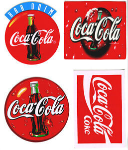 4 LARGE COCA COLA DECAL  STICKERS - Just Peel and Stick them