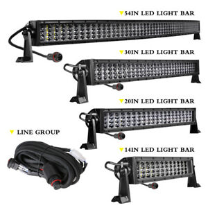 14 20 30 54 Cree Led Light Bar Quad Row 11d Spot Flood Super Bright Driving