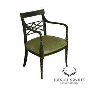 Regency Style Green Gold Accent Armchair