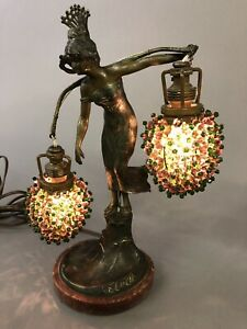 Antique St Lucia Woman Lamp With Beaded Shades 12 X 9