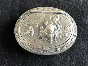 Antique 830 Sterling Silver Repousse Dutch Holland Pill Snuff Box