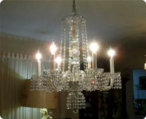 Vintage 6 Light Arms Swarovski Chain With Cut Crystal Chandelier