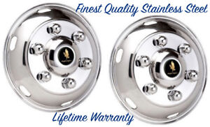 17 5 Hino 6 Lug Stainless Wheel Simulator Hubcap Liners Two Front Rim Covers