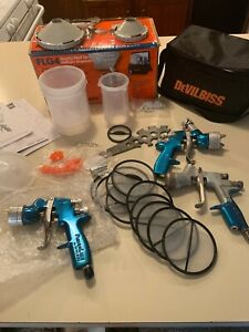 Flg4 Gravity Feed Spray Gun Kit Plus 2 Extra Guns