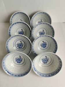 6pcs Chinese Vintage Blue Flower Porcelain Dessert Bowl W Rice Grain Pattern