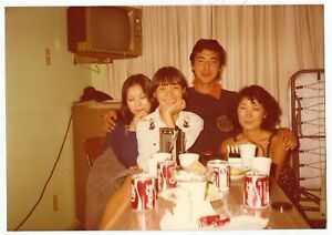 Vintage 70s PHOTO Young Asian Women in Man in Room w/ Coca Cola Coke Cans