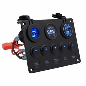 5 Way Circular Combination Switch Panel Double Led Usb Car Charger Voltmeter