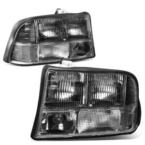 For 1998 2005 Gmc Jimmy Sonoma Oldsmobile Bravada Pair Headlight Headlamp Black