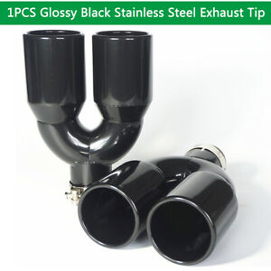 Glossy Stainless Steel Exhaust Tip Pipe Dual Wall Round 2 5 Inlet 3 5 Outlet