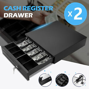 2pc Cash Register 5 Bill 5 Coin Drawer Box Works Compatible Tray Pos Printers