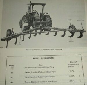 John Deere 90 Series Subsoil Chisel Plow Parts Catalog Manual Book Jd Original