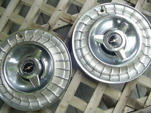Two Vintage 1963 63 Ford Thunderbird T Bird Hubcaps Wheel Covers Center Cap