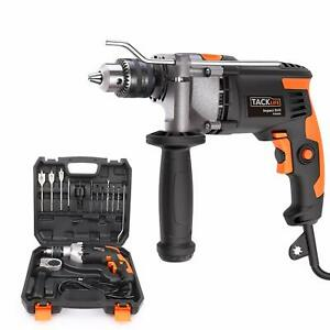 Hammer Drill Tacklife 850w 3000 Rpm Impact Drill With 15 Drill Bit Set storage