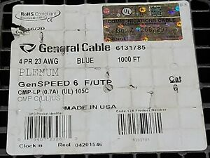 General Cable Genspeed 6 23 4p Cat6 F utp Shield Network Cable Plenum Blue 100ft