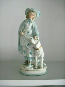 Lovely Vintage Porcelain Bisque Lady W Dog Figurine Stunning In Blue White Dog