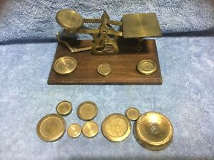 Vintage Brass English Postal Balance Scale With Brass Weights