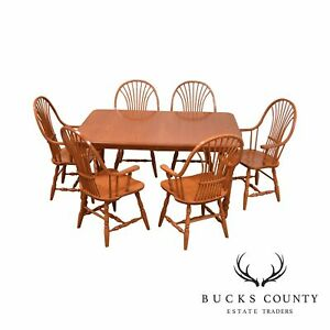 Custom Quality Oak Table 6 Wheat Back Windsor Chairs Dining Set