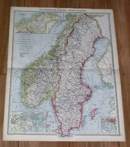 1908 Antique Map Of Scandinavia Sweden Norway Stockholm Oslo Christiania