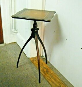 Small Antique Mahogany Association No 326 Tree Legged Table Stand Leather Top