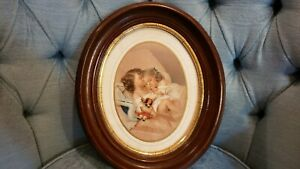 Antique Wood Oval Picture Frame 13 X 11 In Victorian Kids Sleeping Lithograph
