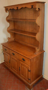 1970 Vintage Maple China Cabinet Hutch
