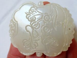 Estate Chinese Vintage Natural White Jade Carved Pendant
