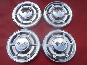 Vintage 1960 62 Chevy Corvette Big Brake Dog Dish Poverty Hubcaps Wheel Covers
