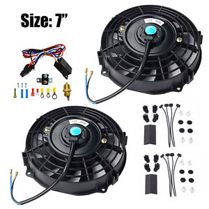2x 7 Electric Radiator Cooling Fan 3 8 Probe Ground Thermostat Switch Kit