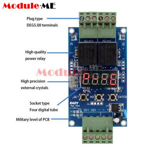 Dual Programmable Relay Dc 12v Control Board Cycle Delay Timer Switch Module