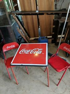 Coca Cola Card Table Porcelain Enamel Top 2 Embossed  Chairs