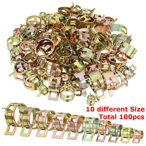 100pcs 6 22mm Spring Clips Fuel Line Hose Water Pipe Air Tube Clamps Fastener Us