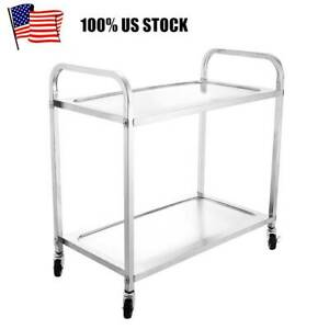 Stainless Steel Rolling Serving Cart Utility Cart Big Kitchen Cart 2 Tier 330lbs