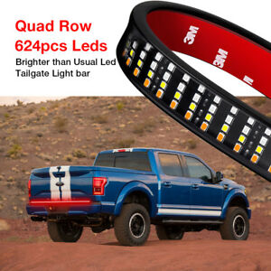 60 quad Row Led Tailgate Brake Reverse Turn Signal Light Bar Strip Truck Pickup