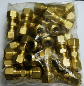 Brass Fittings Dot Air Brake Union Compression Fitting Tube Od 3 8 Qty 50