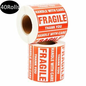 40 Rolls 500 roll 2x3 Fragile Sticker Handle With Care Thank You Shipping Labels