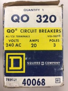 New In Box Square D Qo320 qo Style Circuit Breaker 3 Pole 20 Amp