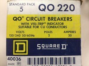 New Box Of 5 Square D Qo220 qo Circuit Breaker 2 Pole 20 Amp Plug In