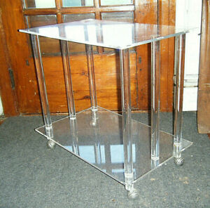 Mid Century Modern Clear Lucite Coffee Table Casters Columns Regency 26 X 24