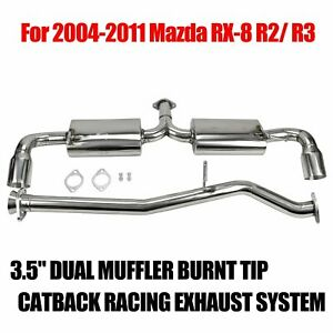 3 5 dual Muffler Tip Stainless Steel Exhaust Catback System For 04 11 Mazda Rx8