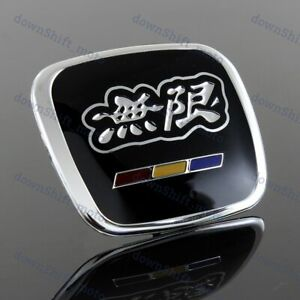 Black Mugen Steering Wheel Jdm Emblem For Honda Civic Accord S2000 Fit Fa5 Fd2