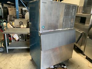 Hoshizaki Km 1301sah 1300lb Air Cooled Ice Maker Machine With Bin very Nice