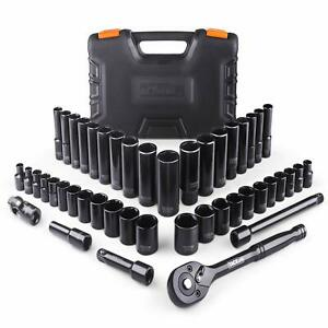 Tacklife 46pcs 3 8 Drive Socket Set 72 Teeth Ratchet With Metric Sae Socket