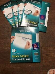Lot Of 5 Avery Clear Label Index Maker Translucent Dividers New