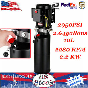 2950psi 2 64gallons Car Lift Hydraulic Power Unit Pack Adjustable For Trailers