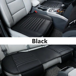 1 3x Car Front Rear Back Seat Cover Breathable Pu Leather Pad Auto Chair Cushion