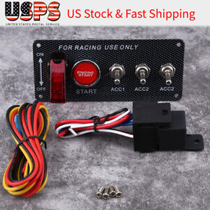12v Race Car Ignition Engine Start Push Button Carbon Fiber Switch Panel Toggle